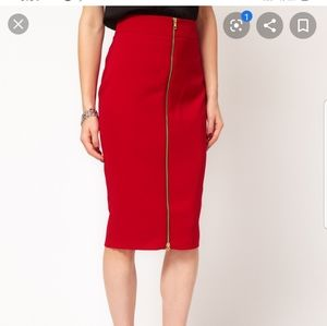 Asos Red Zippered Skirt